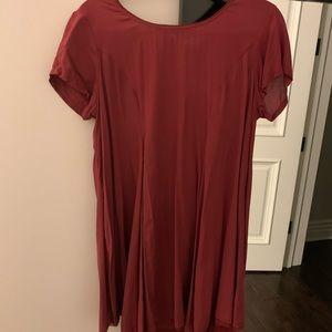 Silence + Noise Burgundy Short Sleeve Dress